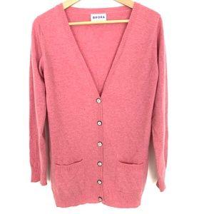 Brora Scottish Cashmere Pink Cardigan Sweater